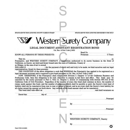Legal Document Assistant Registration Bond - Legal document assistant
